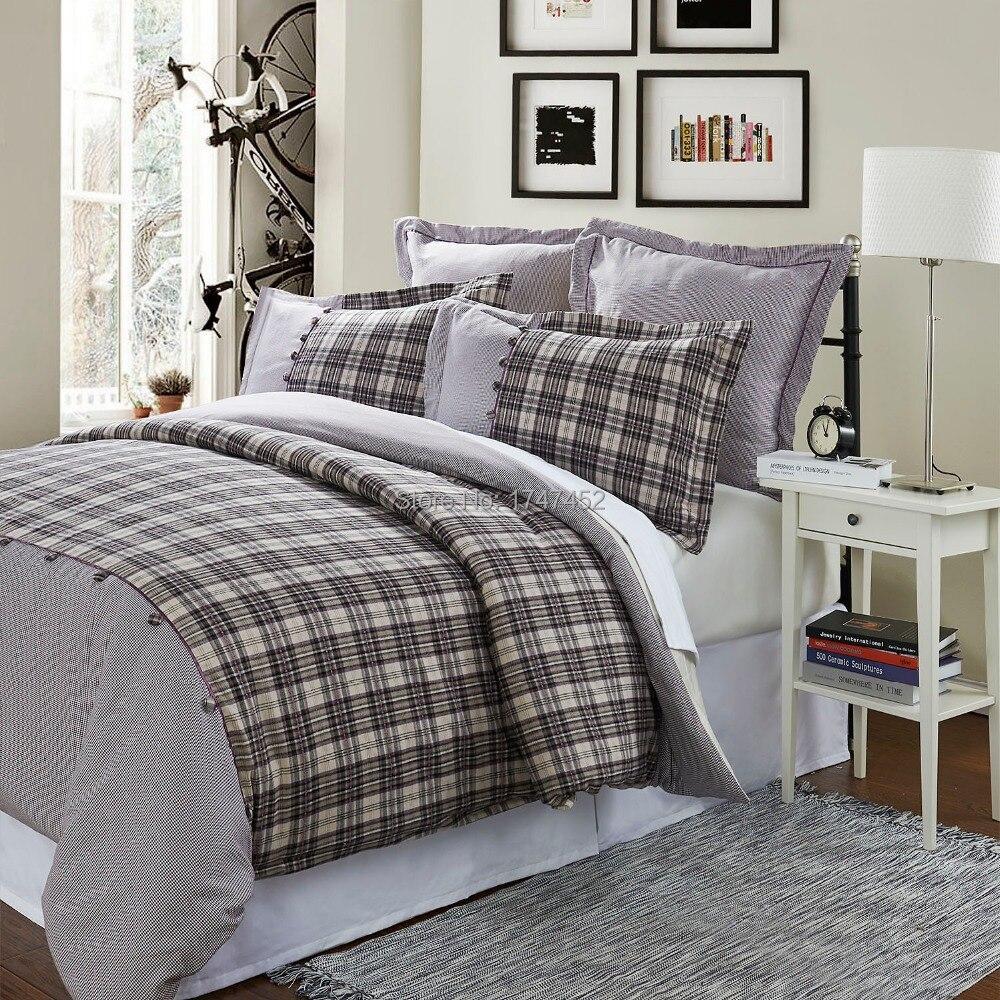 100cotton flannel duvet cover set purple check 1 quilt cover 2