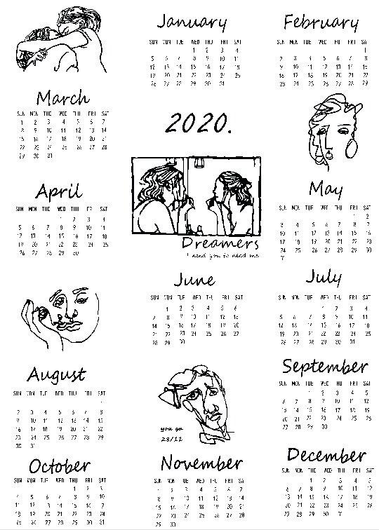 Grande taille 2019 et 2020 calendrier tissu imprimé calendrier mural agenda annuel étude planificateur calendrier de l'avent tissu tenture murale déco