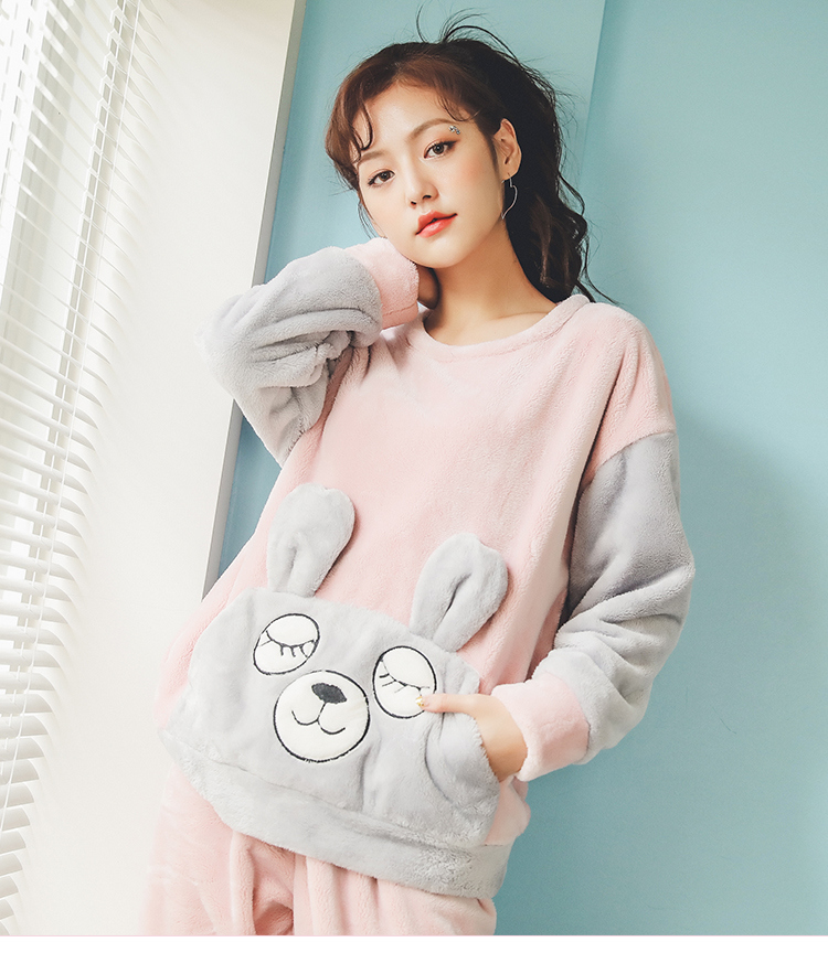 Long Sleeve Warm Flannel Pajamas Winter Women Pajama Sets Print Thicken Sleepwear Pyjamas Plus Size 3XL 4XL 5XL 85kg Nightwear 382