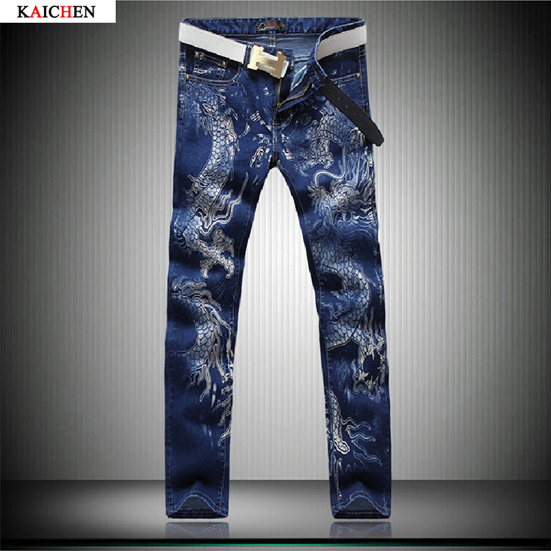 ФОТО 2016 New Blue Jeans Men's Cotton Dragon Pattern Designer Mens Printed Jeans pants Slim Fit Denim trousers Male Size 28-38