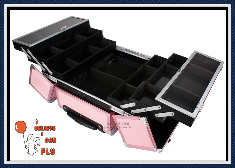 ... EMS Free Shi[pping Professional Trolley Beauty Box Makeup Case with wheels BLACK