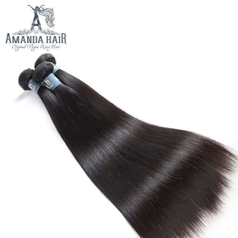 Amanda Péruvienne Vierge Cheveux Raides Bundles 10A 100% Non Transformés Droite de Cheveux Humains 4 bundles Extensions 10 -30 naturel Couleur