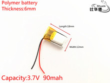 3.7V 90mAh 601218 Lithium Polymer Li-Po li ion Rechargeable Battery cells For Mp3 MP4 MP5 GPS PSP mobile bluetooth