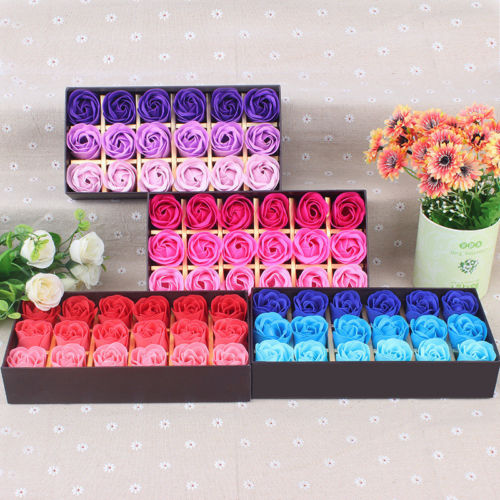 US Stock Set Rose Bath Soap Flower Petal With Gift Box Wedding Valentine's Day