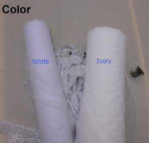 Image 2 - Echt Fotos 2 Schichten Pailletten Spitze 3 Meter Kathedrale Woodland Hochzeit Schleier mit Kamm 3 M Lange Weiß Elfenbein 2 T Braut Schleier