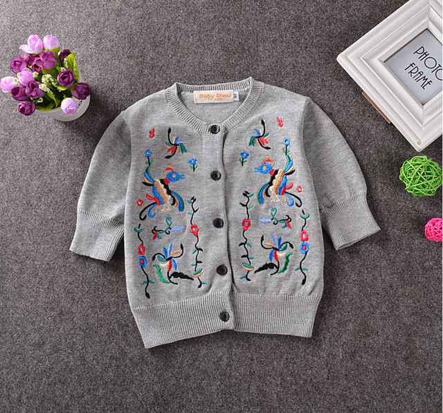6815826f3 Girls Sweater Cardigans Children Clothes Flower Embroidery Sweaters ...