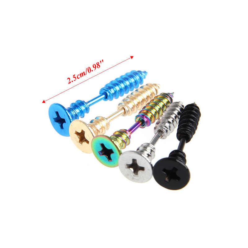 Drop & ขายส่ง Unisex ผู้หญิงผู้ชาย Punk สแตนเลสสตีลหู Studs ต่างหูเครื่องประดับใหม่ APR28