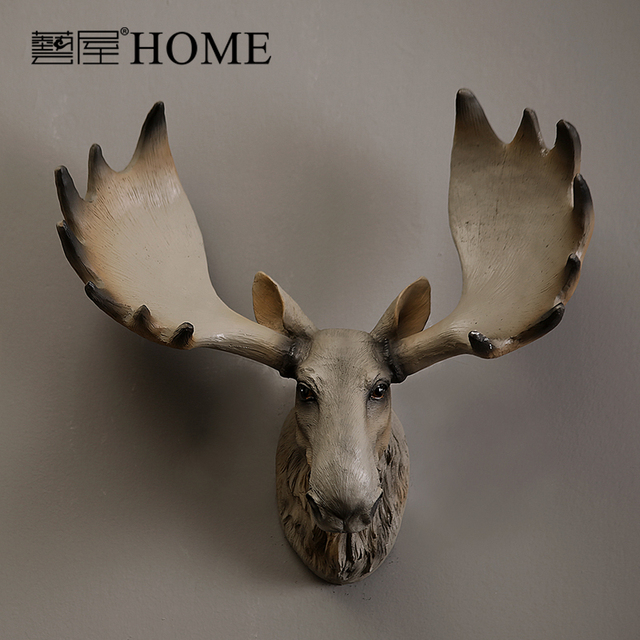 Retro Wall Decor Hanging Home Furnishing Handmade Resin Crafts Simulation Moose Head Vintage Luxury