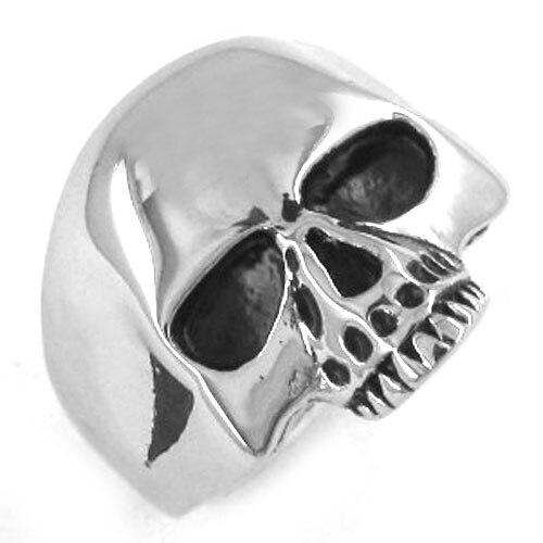 Мужское и женское кольцо в стиле панк, черное или Золотое кольцо из нержавеющей стали с изображением черепа в байкерском стиле, SWR0036