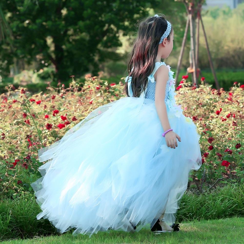 Hydrangea Ankle Length Toddler Girl Wedding Party Dress Blue Princess Flower Girls Clothes Kids for Weddings Junior Girls Dress (7)