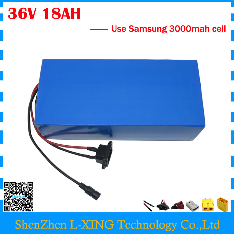 Free customs fee 1000W 36V 18AH li-ion battery pack 36V 18AH electric bike battery use Samsung 3000mah cell with 42V 2A Charger free customs taxes factory super power rechargeable 36 volt power supply 36v 20ah li ion battery pack