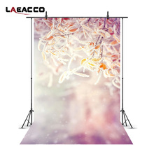 Laeacco Winter Snow Frozen Branches Hazy Bokeh Photography Backgrounds New Year Home Decoration Backdrops For Photo Studio