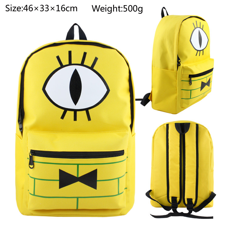 Yellow Men Women Gravity Fall Bill Cipher Boss Canvas Backpack Bag Shoulder School Bag Zipper Messenger Shoulder Bags