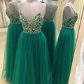 Brillantes Cristales Prom Vestidos Real Photo Con Cuentas Formal Prom Party Dress una Línea de Cuello V Vestido de fiesta con Espalda Abierta Vestidos de Fiesta