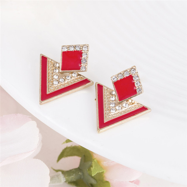 Hot Sale Brincos Colorful Enamel Rhinestone Party Earring Geometric Drop Triangle Earrings for Women Fashion Accessories Jewelry 1