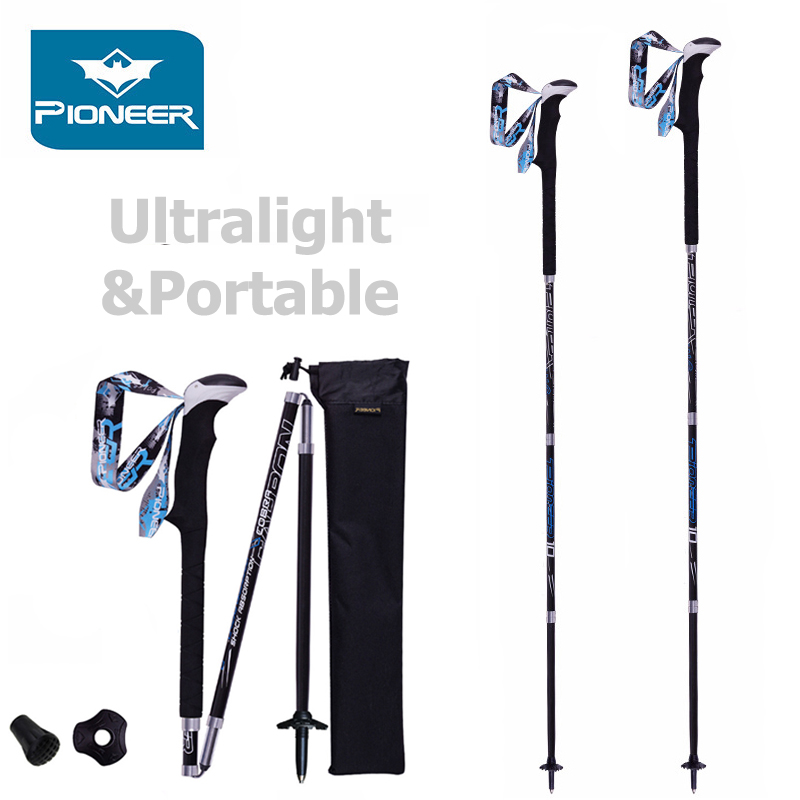 Premium Carbon Fiber Trekking Poles Stronger Lighter Than Aluminum Poles Collapsible Hiking Canes Walking Sticks Alpenstocks