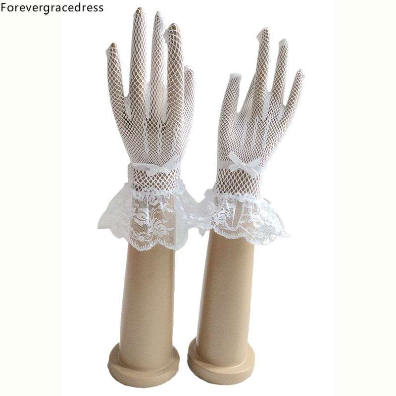Forevergracedress Beautiful Stunning Real Photo White Ivory Lace Finger Bridal Bride Glove Cheap Wedding Accessories
