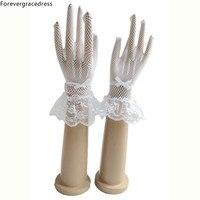 Forevergracedress Piękne Oszałamiająca Real Photo Białe Kości Słoniowej Koronki Palec Rękawiczki Tanie Ślubne Akcesoria Ślubne Panny Młodej