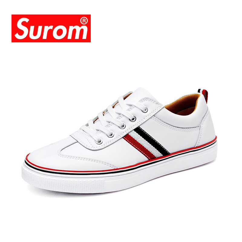 SUROM High Quality Leather Casual White Shoes Mens Krasovki Brogue Shoes Loafers Man