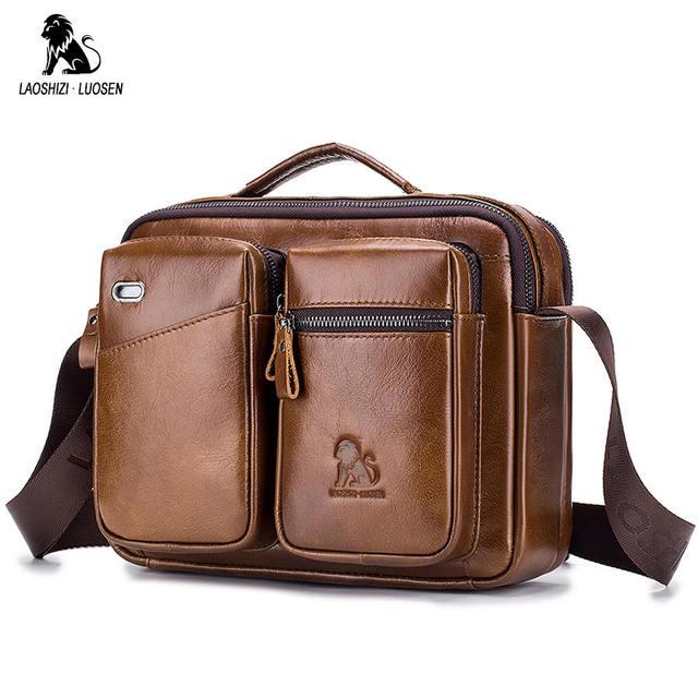 LAOSHIZI Bolso de hombro de cuero genuino bolsos cruzados para hombre bolsa cruzada