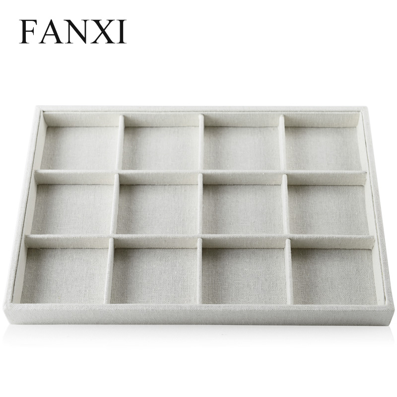 oirlv free shipping functioanl beige linen jewelry display tray 12 grids all match for ring necklace
