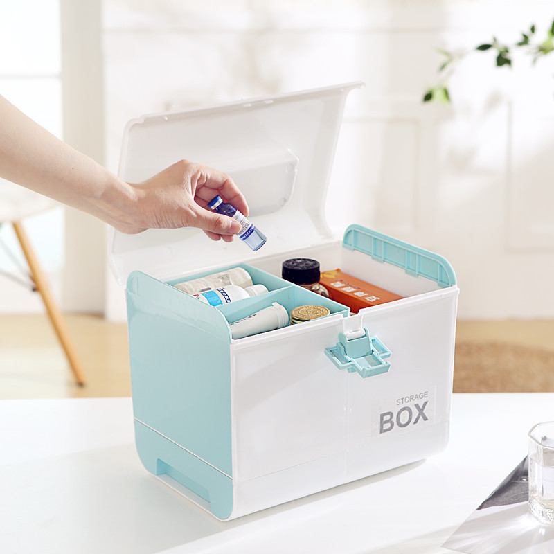 Medicine Cabinet Hand Storage Boxes Plastic Medicine Box Cosmetics Storage Bins 4 colors Apply to Family Makeup Organizers