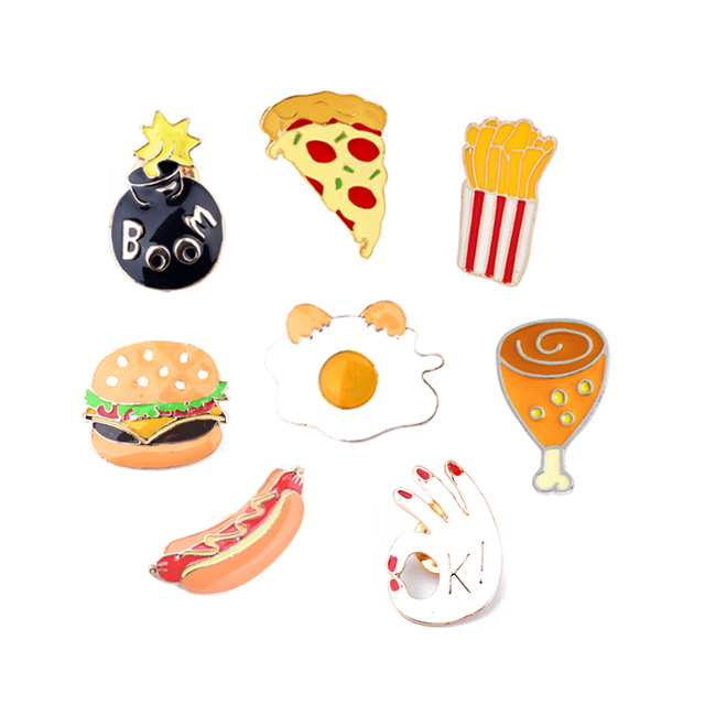 Hamburger Pizza Fries Hot Dog Chicken Legs Poached Eggs Enamel Brooch Pin Hat Shirt Collar Decoration Fast Food Brooches Jewelry