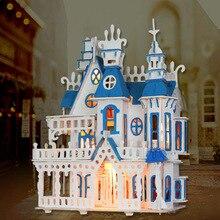Luminous Sunshine Alice Dream Villa castle light DIY Wooden Miniatura Doll House Furniture Handmade 3D Building
