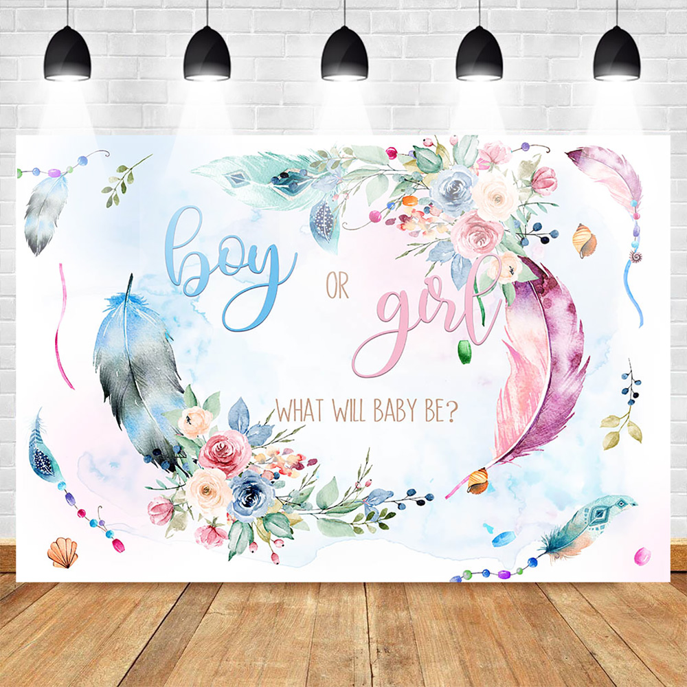 Mehofoto Gender Reveal Photo Background Boy or Girl Newborn Flowers Photography Backdrops Pink and Blue Feather Baby Shower