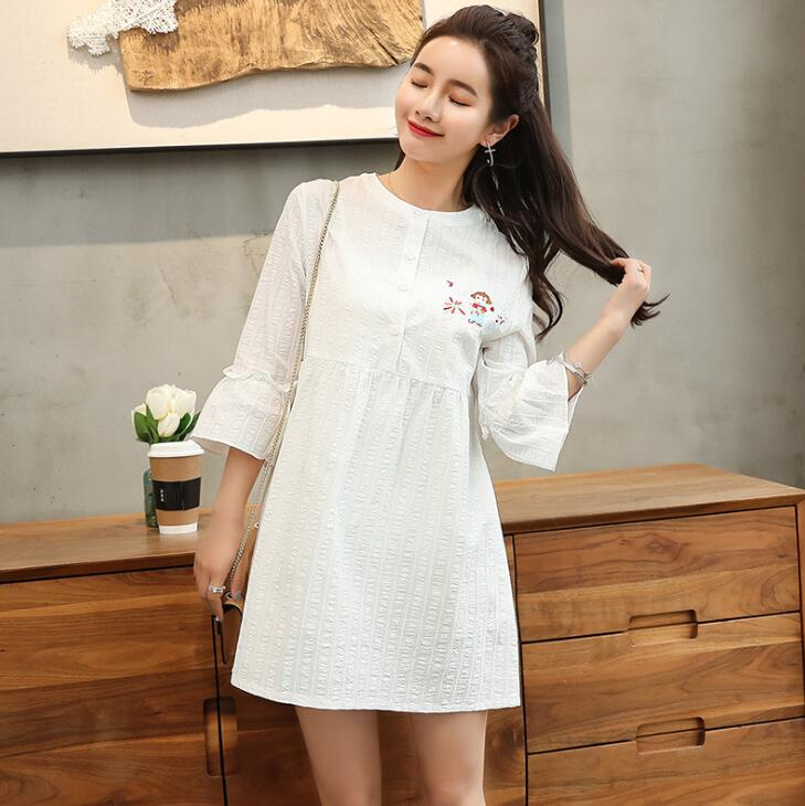 L XXL Nice Cotton Embroidery Dress for Pregnant Woman ...