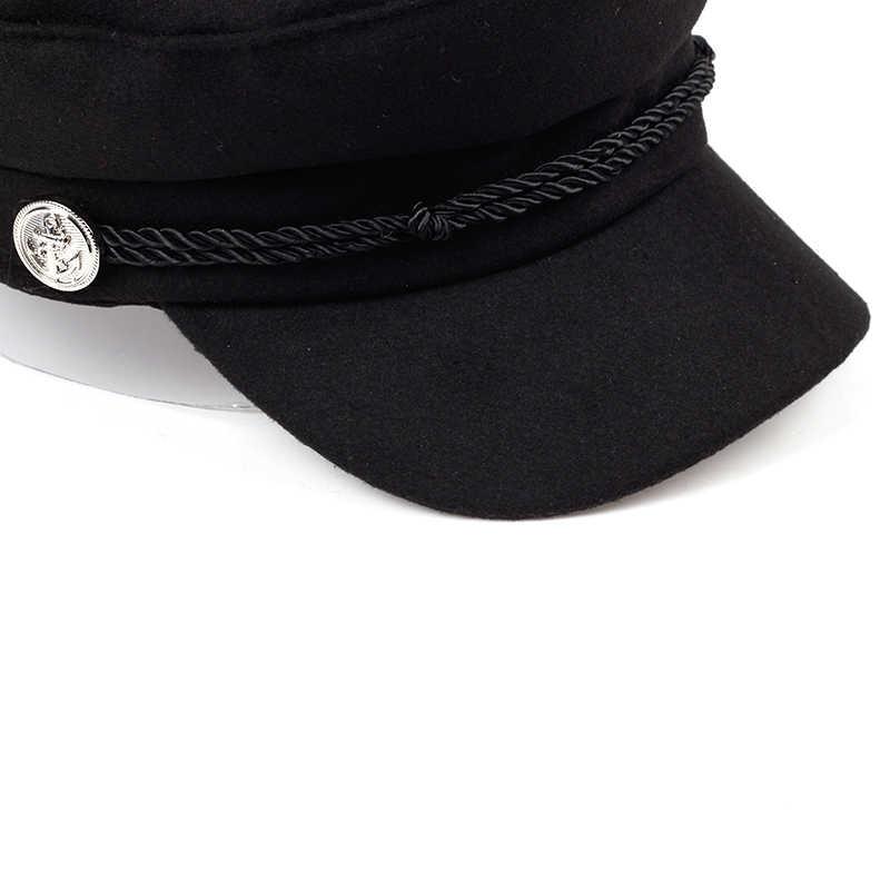 ... VORON new navy Cap Hat Female Winter Hats For Women Men Ladies Army  Militar Hat wool ... 859e9df6ad9