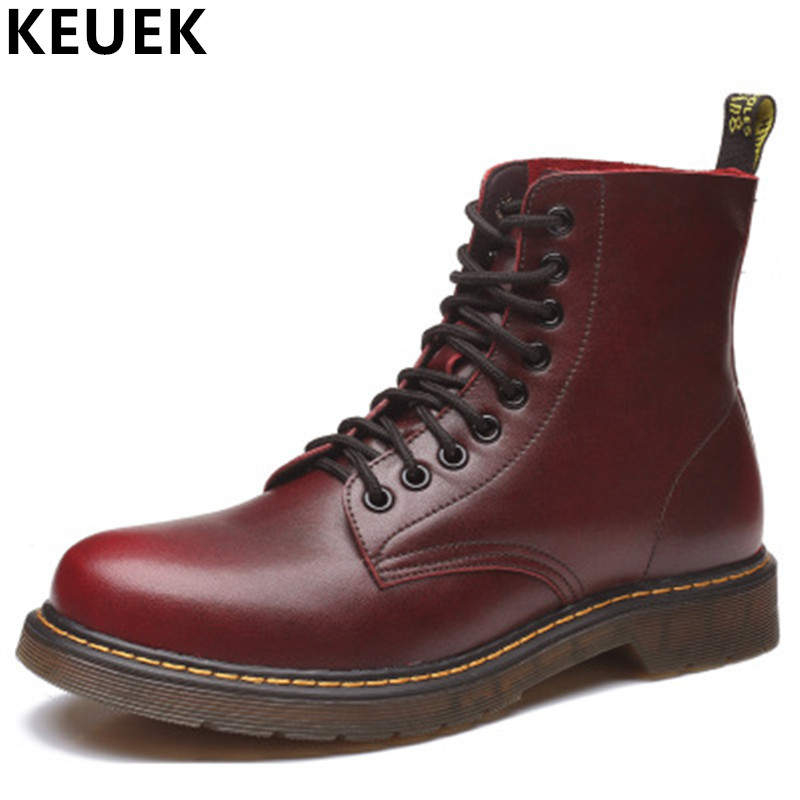 Plus size Ankle boots Autumn Winter Men Martin boots Genuine leather Vintage Motorcycle boots Wear-resistant Male shoes 033 2016 new martin male autumn and winter genuine leather platform medium leg mens equestrian vintage motorcycle boots