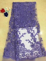2018 Embroidered sequins African Silver lace Fabric High Quality Nigerian Wedding Dress, French Lace Guipure Cord Lace Purple(12