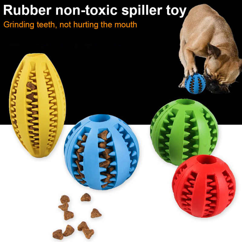 Interactive Natural Rubber Ball Cat Puppy Chew Toy Food Dispenser Ball Bite-Resistant Clean Teeth Pet Playing Balls Pet Dog Toys