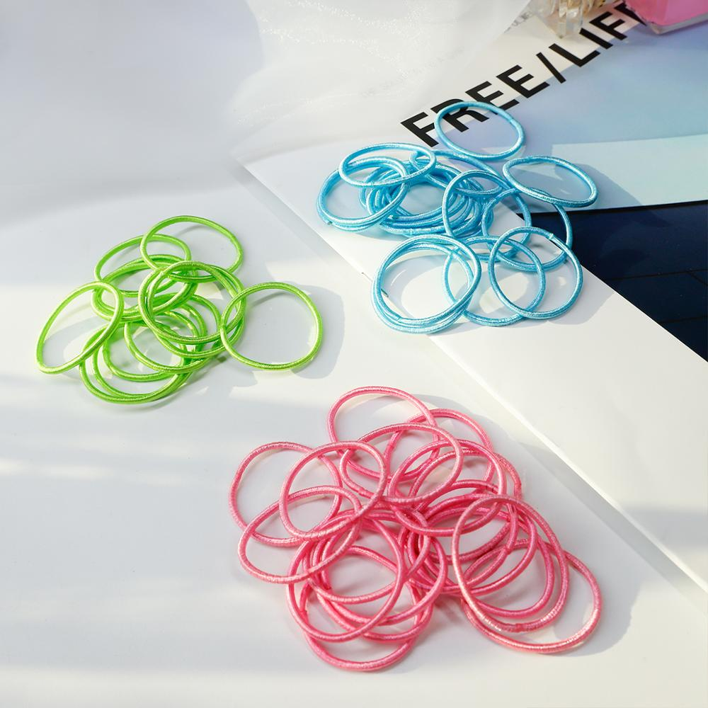 100PCS/Lot Girls Candy Color Nylon Scrunchies 3CM Rubber Bands Children Safe Elastic Hair Bands Ponytail Holder Kids Accessories