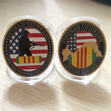 Free Shipping 3pcs/lot,United States Military Vietnam Veterans 24K Gold Plated Challenge coin