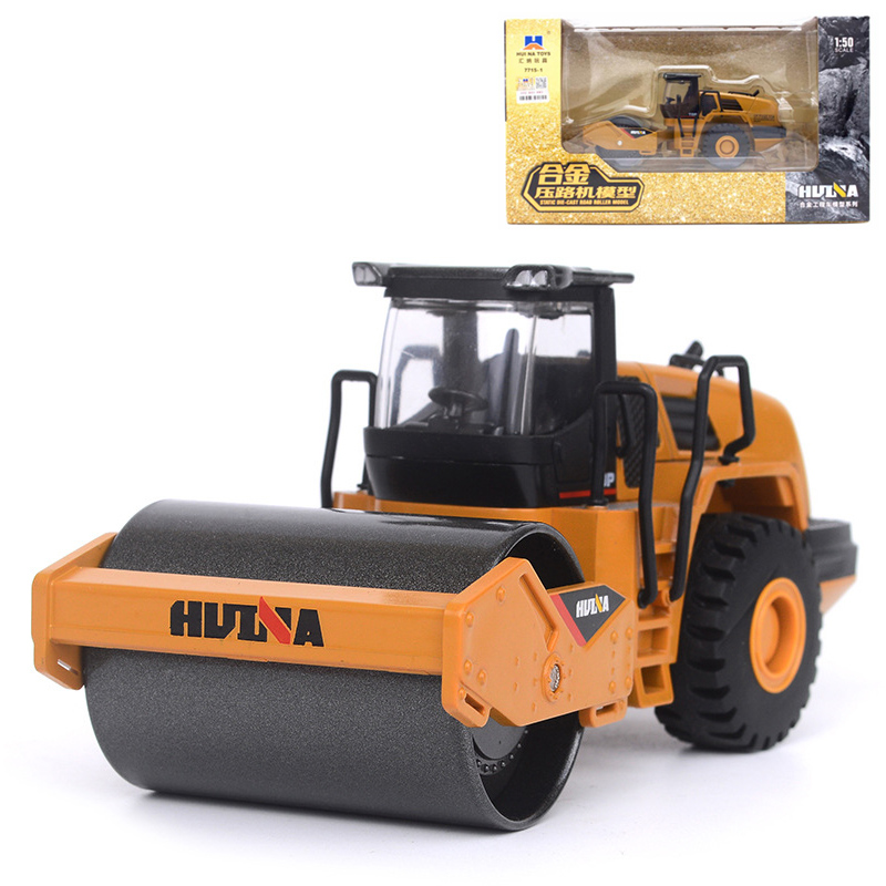HUI NA TOYS 1:50 Engineering Truck Toy Simulation Alloy Road Roller Static Trucks Model Car For Boys Gift 1 50 drill wagon alloy truck engineering vehicle toy car model dinky toys for children boys gift
