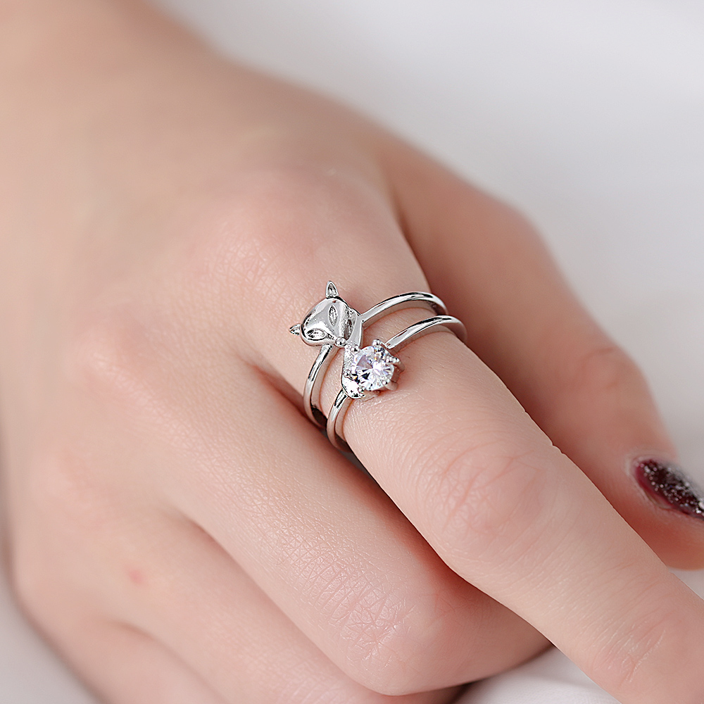 1PC Elegant Crystal Silver Plated Fox Head Ring Cute Animal Double ...