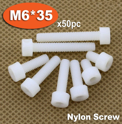50pc DIN912 M6 x 35 White Plastic Nylon Screw Hexagon Hex Socket Head Cap Screws