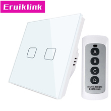 EU/UK Standard 1/2/3 Gang 1 Way Light Remote Control Switch,White Crystal Glass Panel Wall Touch Switch For RF433 Smart Home цена 2017