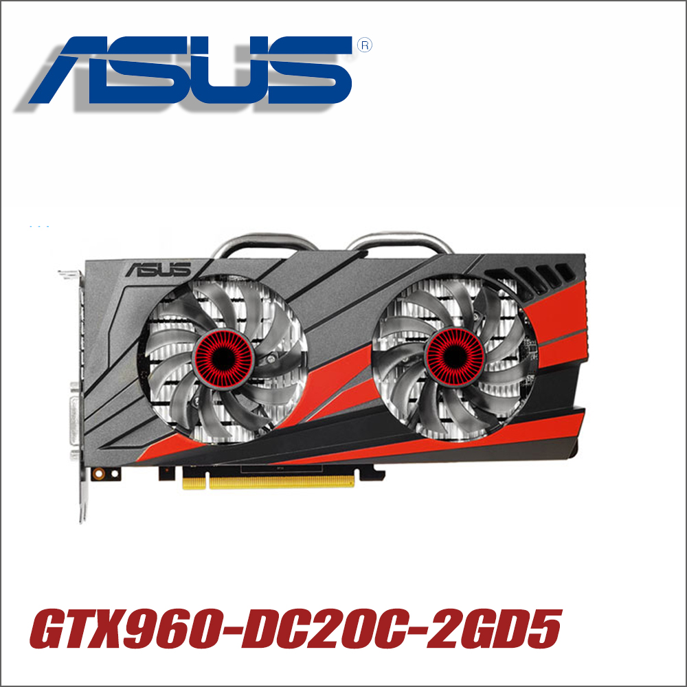Оригинальный ASUS GTX960-DC2OC-2GD5 Видеокарта GTX 960 2 ГБ 128Bit GDDR5 Графика карты для nVIDIA Geforce Hdmi Dvi игры GTX960