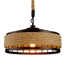 Loft pendant lamp vintage rope hemp chandelier retaurant living room bedroom bar pub club cafe light corridor office study lamp(China)