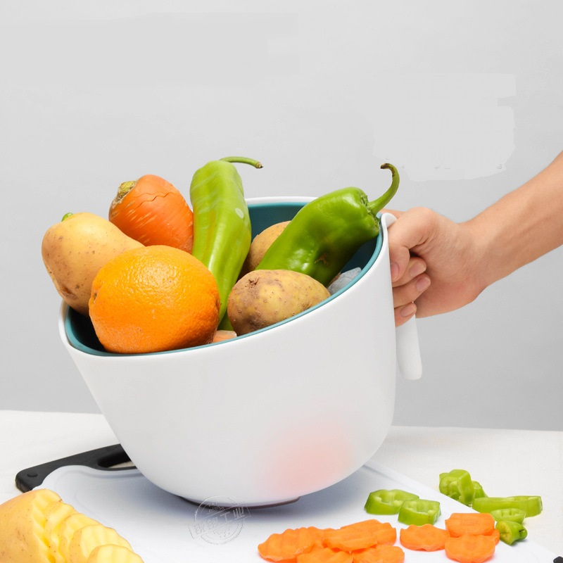 Double layer fruit and vegetable drain basket two piece plastic storage basket kitchen vegetable basket fruit filter LU9131138