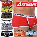 Envío libre! Alta calidad marca AUSTINBEM hombres de los boxeadores de moda ropa interior de los hombres gay sexy pantalones de los hombres de algodón suave ropa interior