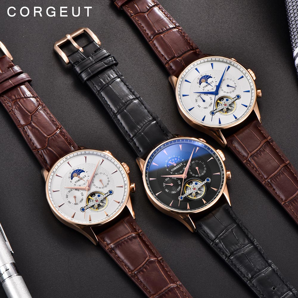 Corgeut Skeleton Mechanical Automatic Watch Men Sport Top Luxury Brand Moon Phase Watches Rose Gold Leather Hombre Wrist Watches