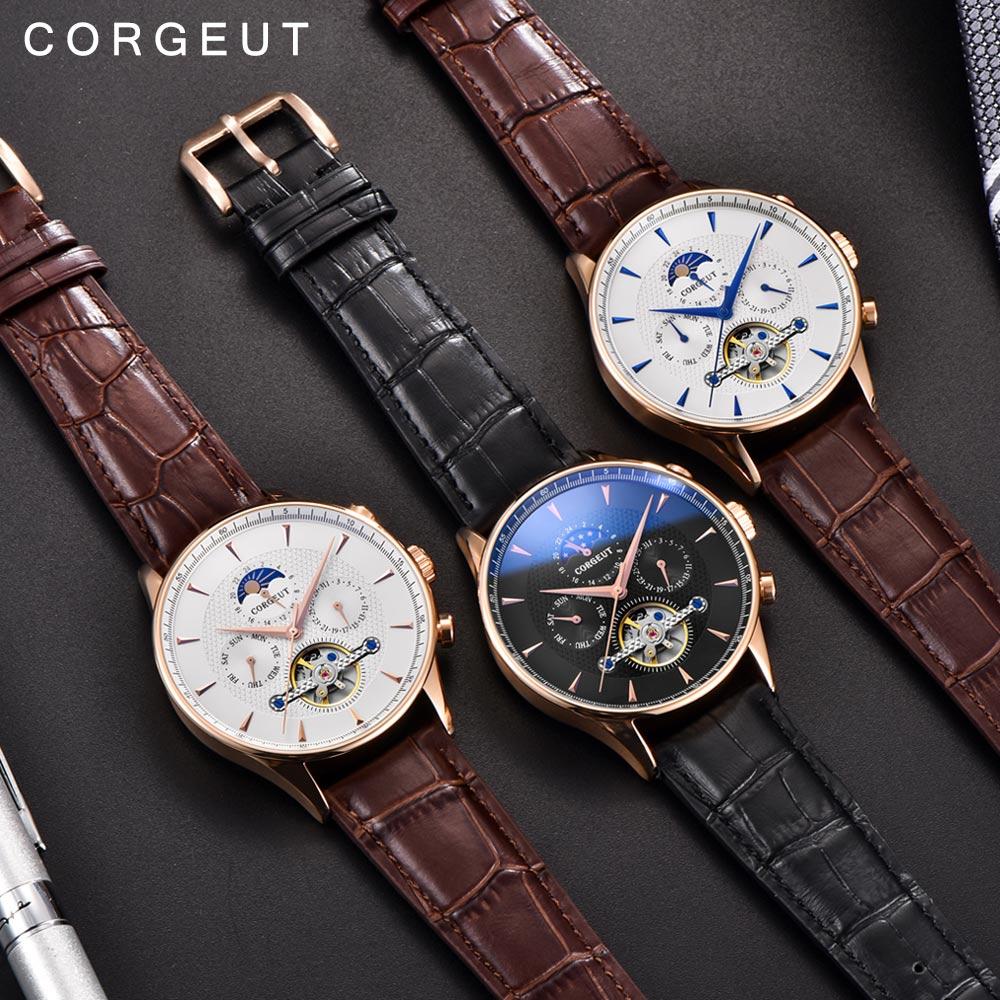 Corgeut squelette mécanique montre automatique hommes Sport Top marque de luxe Phase de lune montres en or Rose cuir Hombre montres