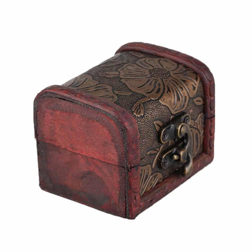 Полый узор Винтаж красный деревянная витрина для ювелирных украшений ожерелье с бусинами-кубиками браслет футляр для хранения колец ящик-органайзер для хранения подарочная коробка