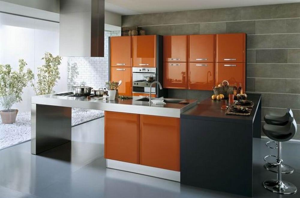 Orange Kitchen Cabinets Design Foshan Factory Direct Supply