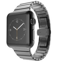 NOTO Stainless Steel Butterfly Buckle Metal Strap For Apple Watch 38mm 42mm Metal Link Strap For