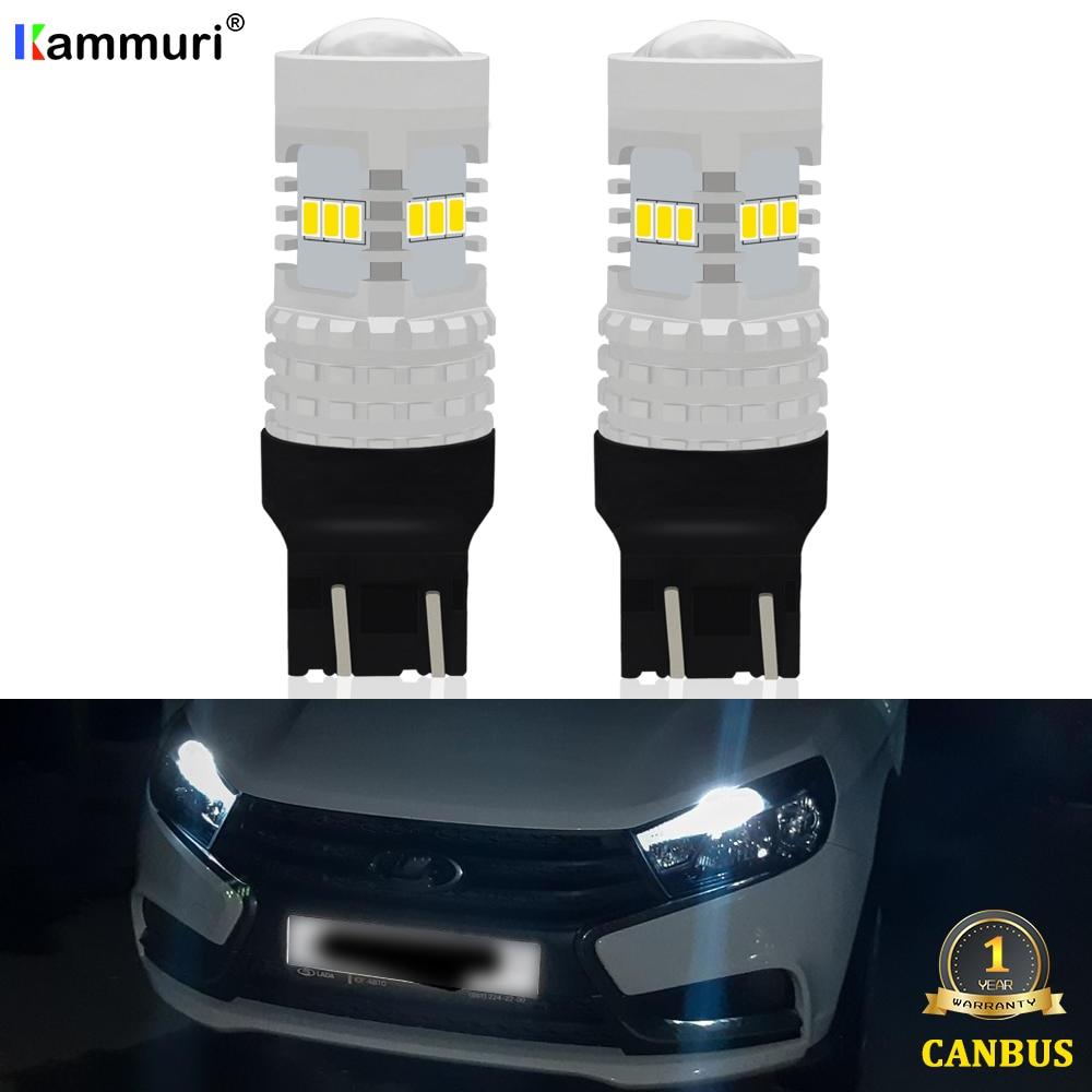 2PCS 6000K Weiß LADA Lada Kalina Granta Vesta DRL Led-lampen SRCK 7443 7444 T20 W21/5 W LED Lampe Extrem Helle 12LEDs 3020-EX